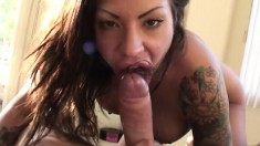 Tattooed brunette with wonderful big boobs loves hardcore sex action