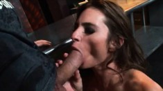 Brunette in a threesome chews on meat, ass fucks and gets a facial