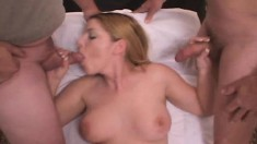 Seductive Blonde With Big Natural Tits Candi Has A Passion For Bukkake