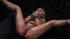 Slender blonde with big boobs Mia Pearl gets tied up and drilled deep