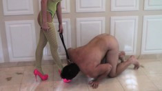 Busty mistress has her slave on a leash and makes him kiss her feet