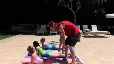 Yoga class turns into some hot outside blowjobs and screwing