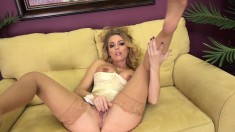Enchanting Blonde In Stockings Brings Herself To Climax On The Sofa