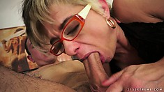 Seated up on top of a stiff cock, this MILF comes really loose
