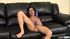 Tia spreads her legs wide and fingers, then toys her love hole