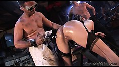 She gets felt up and her glasses come off and she gets drilled and sucks