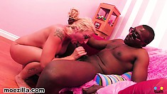 The horny blonde loves to bounce on that black shaft and to take it hard from behind
