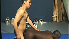 Interracial gays with black dude deep throating and getting his ass busted