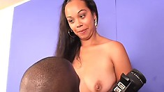 Destiny Love, a hot ebony babe with big boobs, is on the lookout for a black cock