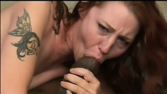 Ginger-head beauty has her shaved cootch and mouth fucked nicely