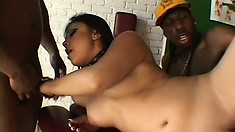 Alluring girl with lovely tits JJ Cruz has two black guys fulfilling her fantasies