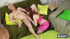 Pretty redhead teen Nataliya tastes a man's ass and fucks his big cock