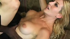 Busty blonde Celestia Star moves on top of the black stud and fucks his huge dick