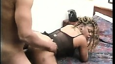 Tough guy Tony T is paid a visit by Tyra Butts and he pounds her juicy black hole