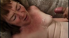 Old granny gets two dudes fucking her and squirting their loads on her face