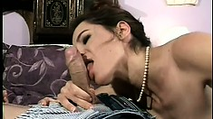 Stacked brunette housewife gets down with a barely legal punk