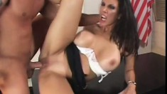 Kinky brunette MILF with massive tits gets banged in her office