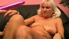 Amora and Carolyn indulge in passionate lesbian action on the couch