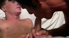 Young bisexual dude seduces his straight friend into some hot oral