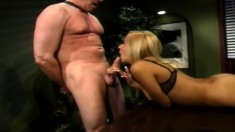 Naughty secretary wants her boss to ravage her holes deep and hard