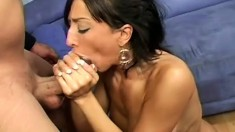 Busty babe Ricki wants to get wrecked by this well hung dude