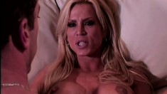 A gorgeous blonde with big tits goes for a rough ride on a big dick