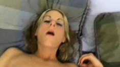 A truly beautiful blonde girl lowers her snatch down on a hard cock