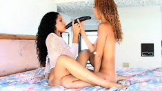 Ethnic lesbians get wild and wet as they eat and toy their love slits