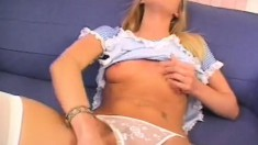 Slim blonde with tiny tits Angel has two long dicks exploring her holes