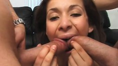 Good looking chick gets her holes plowed by two juicy cobras