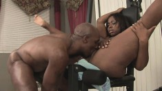 Juicy black babe gives her man a workout with her fat snatch