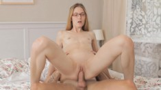 Blonde bitch in glasses gets a lesson on how to suck and fuck the tutor