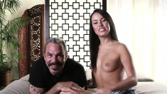 Barely legal cutie gets seduced into fucking an older guy with money