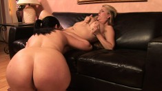 Sheila Marie and friend eat pussy before they put on a strapon to fuck