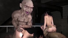 3d Babe Sits On A Weird Creature's Prick And Gets Bounced On It