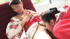 Astonishing Asian girls Mona and Mind indulge in hot lesbian action