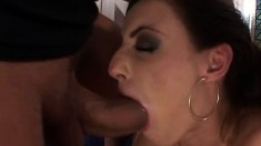 Horny stud loves to get his manhood worked by two hot chicks