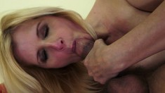 Sexy blonde mature Jenny works her mouth and her pussy on a long dick