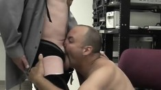 Two Horny Older Guys Suck On Each Other's Stiff Boners While At Work