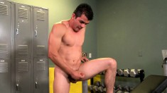Young weightlifter Mario Romo takes of his tighty whities to masturbate
