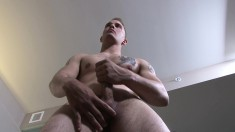 Attractive boy with a ripped body Chase loves to make himself cum hard