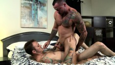 Tattooed hunk with nice oral skills takes a long pole for a wild ride