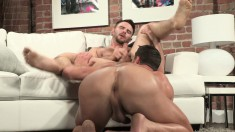 Pretty guy takes a big stick up his butt and a hot load in his mouth
