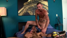 Bald stallion loves to stick his cock into a horny dudes ass and mouth