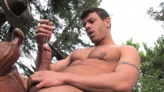 Hot Stud Is Outside Shoving In Different Rods Into His Pee Hole