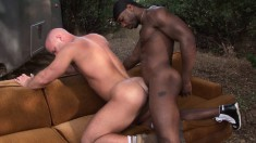 Bald Headed White Guy Has A Black Hunk Hammering His Tight Ass Outside