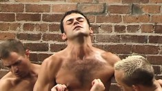 Muscled Stud Gets His Ass Penetrated By Fists And Dildos In A Gay Threesome In An Alley