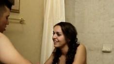 Latin coed couple sex in the bathroom