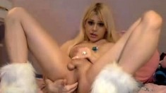 Blonde tranny shemale solo masturbation