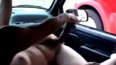 Horny bitch masturbating in car for truck driver